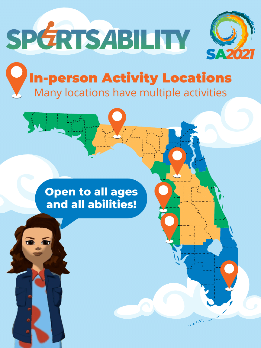 image - map showing location of in-person activities in Florida for SportsAbility 2021