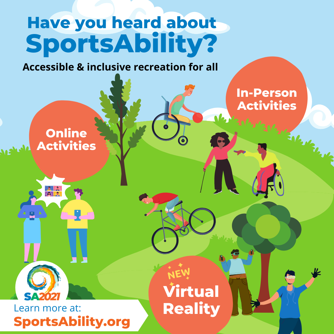 image of the various aspects of SportsAbility 2021: in-person activities, online activities, and virtual reality